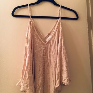NWT Free People floaty tank w/bugle bead accent